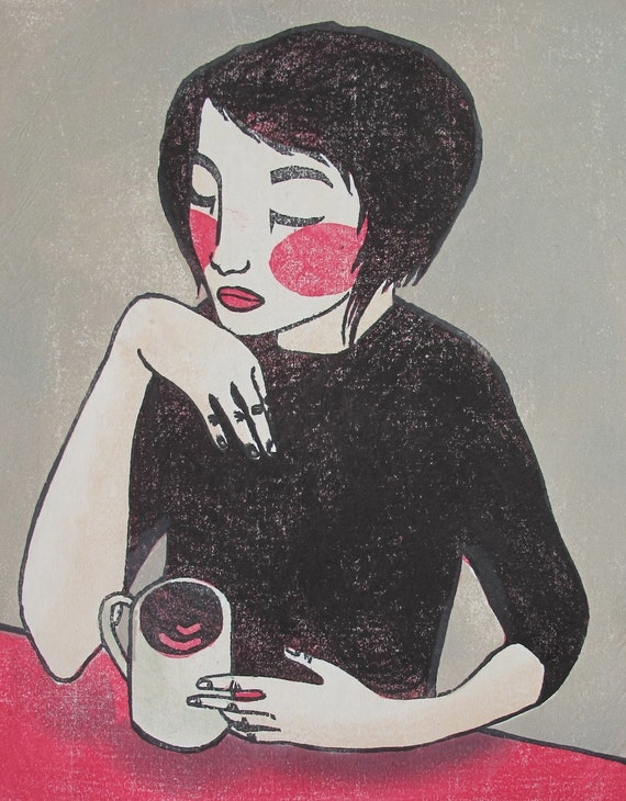 "Original Japanese woodblock print ""Over a cup of coffee"""