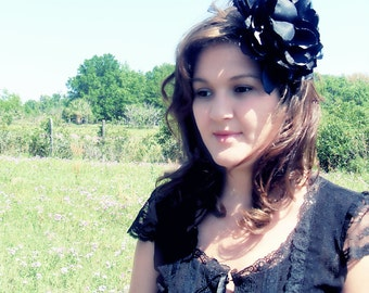 Caroline Fascinator - Large Black Satin Layered Flower w/ Black Feathers - Couture - Hand-Crafted - Eveningwear - Races - Derby