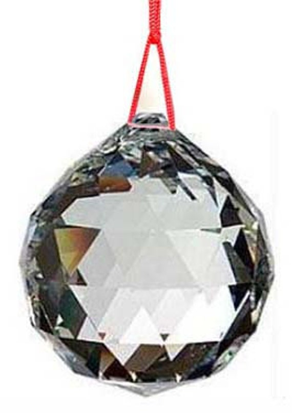 1 Feng Shui Faceted Crystal Prism Ball 20mm on Red Cord Reiki Wicca Space Clearing Glass Light Catcher