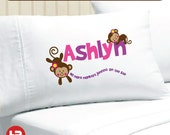 Monkey Pillow case - No More Monkeys Jumping on the Bed Monkey Pillowcase -  Personalized Pillow case - Personalized Monkey Pillow case