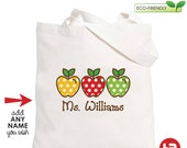 personalized Teacher Tote Bag - Teacher Appreciation Gift - Monogram Teacher Christmas Gift - Teacher Back to School Gift