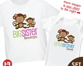 Monkey Big Sister Shirt & Monkey Little Brother Shirt or Bodysuit - 2 Personalized Sibling Shirts