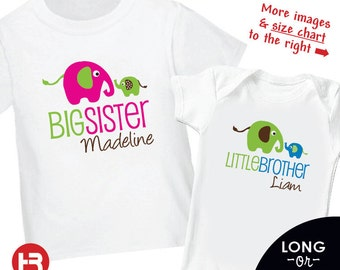 Elephant Big Sister Shirt & Elephant Little Brother Shirt - Personalized Sibling Shirt