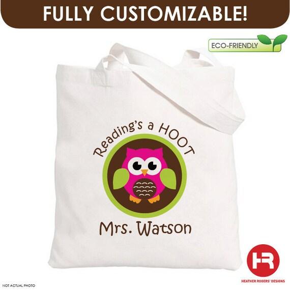 Reading's a Hoot Owl Tote Bag - Book Tote Bag - teacher appreciation gift - Reading Teacher Gift