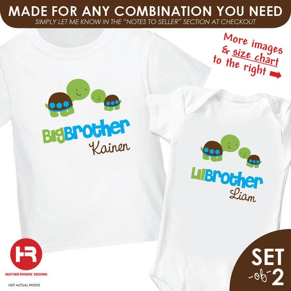 Turtle Big Brother Shirt & Turtle Little Brother Shirt - 2 Personalized Sibling Shirts