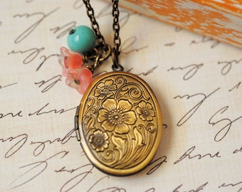 Brass Locket Jewelry Antiqued Floral Locket Jewelry Turquoise Pink Charm Beads Vintage Inspired Charm