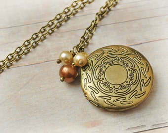 Gold Locket Jewelry Antique Locket Necklace Victorian Jewelry, Cream and Brown Pearls