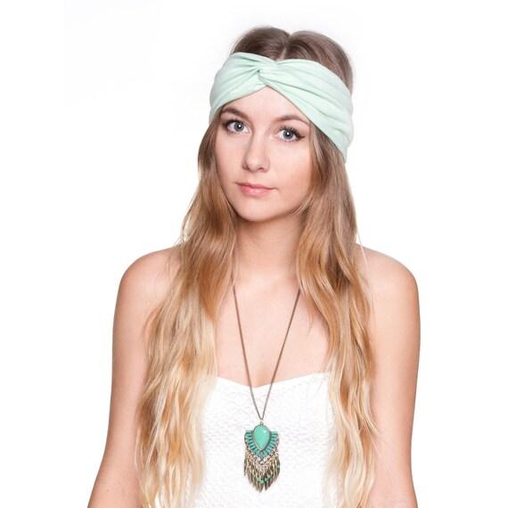 Mint Green Jersey Knit Stretch Turban Headband