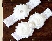 SALE!!! White Bridal Garter Set, White Wedding Garter Set, Bridal garter set