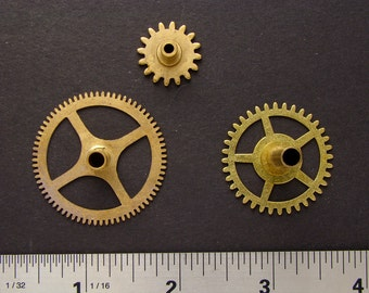 Antique brass gears vintage clock wheels cogs for goggles sculpture masks jewelry industrial altered art collage Steampunk Art Supplies 2210