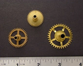 Antique brass gears vintage clock wheels cogs for goggles sculpture masks jewelry industrial altered art collage Steampunk Art Supplies 2208