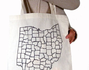 Ohio Counties Canvas Tote in Black
