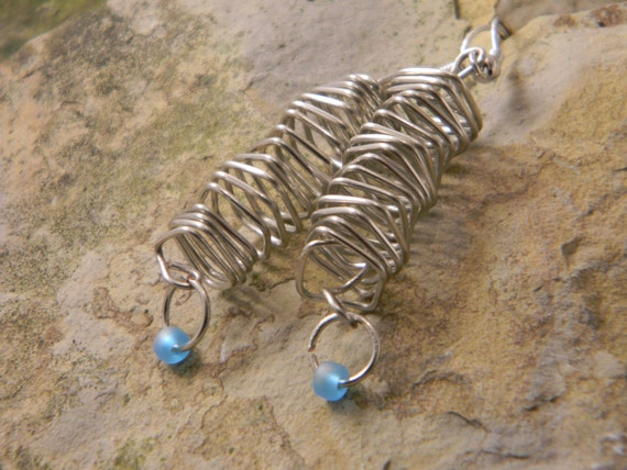 Spiral Down Square Wire Wrapped Earrings Valentine's Day Gift Jewelry Affaire Stampington