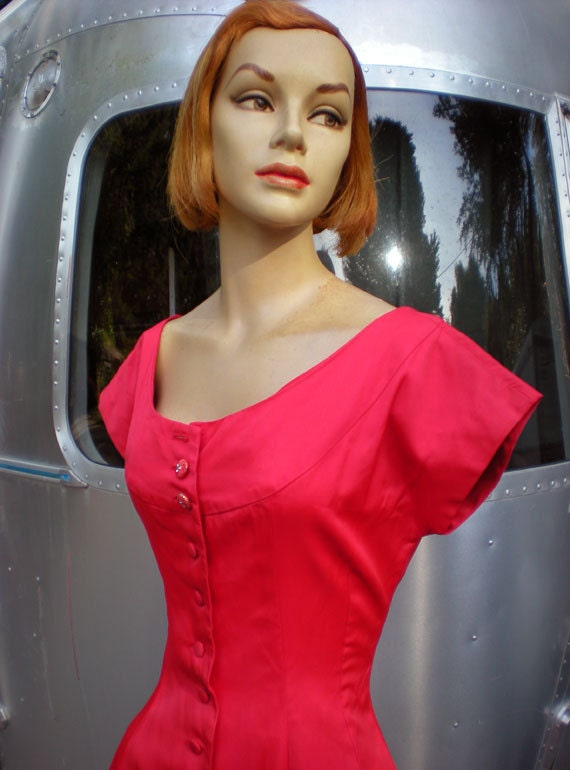 Reserved for Kathy SALE Vintage 1950's Lipstick Red Party Evening Dress Viva Las Vegas Rhinestone Buttons Bombshell Vixen
