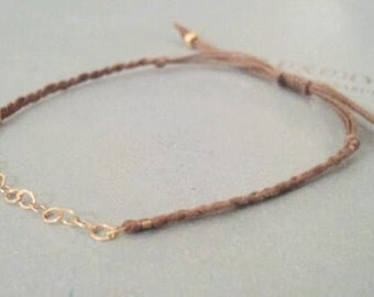 linky. chic delicate friendship bracelet gold filled chain links on adjustable cotton cord