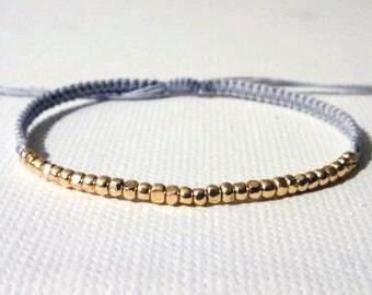SHYLY. tiny gold nugget macrame bracelet