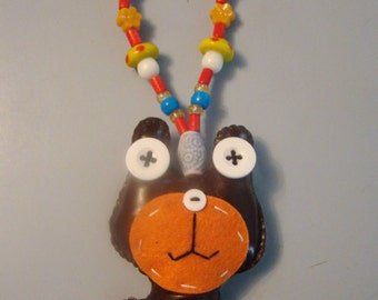 Custom Creature Kandi Necklace with Mushroom and Flower Beads