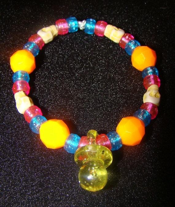 Custom Pacifier Kandi Bracelet with Skull Beads