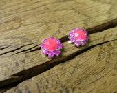 Tiny Neon Pink & Neon Purple Crystal Stud Earrings in Silver