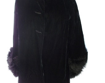 VELVET & MARABOU Feathered Cuffs ~ Coat in Black ~ Stunning Wicked Vintage