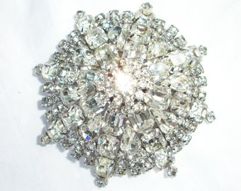 Huge STATEMENT Vintage Brooch ~ Multiple Rhinestone ~ Dome Shape with Brilliant Sparkle ~ Show Stopper ~ Statement Costume Jewelry