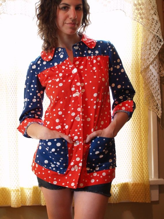 1970s Vintage Red White and Blue Polka Dot Colorblock Jacket - Button Down Long Sleeve Patriotic Blouse - Adorable - Small Medium 2 4 6 8