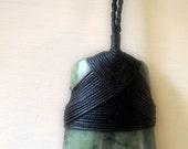 Vintage Maori Jade Pendant with black knoted necklace