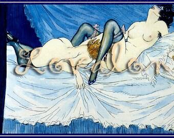 MATURE... Art of Love... Instant Digital Download... 1930's Vintage Erotic Art Illustration Image