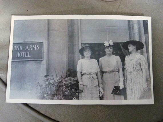 Pink Arms Hotel... Fun 1930's Vintage Snapshot