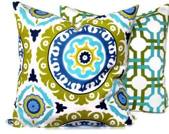 Decorative Pillow Accent Pillow Throw Pillow, Pillow Cover Waverly Suzani Azure Blue18x18 20x20 22x22 14x20 Lumbar Pillow Gold-Chartreuse