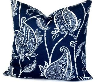 Duralee Jacobean, Decorative Pillow,Throw Pillow, Pillow Cover, 18x18, 20x20, 22x22, Accent Pillow, Lucinda Navy Blue