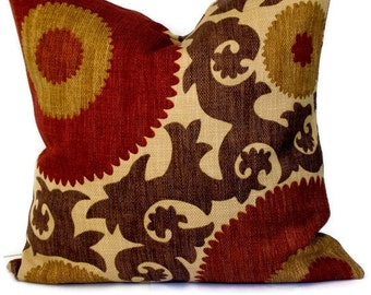 Accent Pillow, Throw Pillow, Decorative Pillow, Suzani Pattern, Braemore Designer Fabric, Brown, Russet, Pecan