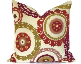 Decorative Pillow -Accent Pillow-Throw Pillow - 20x20 Pillow Cover-Suzani Pattern - Mill Creek Taraz - Raspberry and Cream