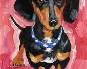 Black Dachshund Painting, Doxie Painting Print,  Weiner Dog Print, Hot Dog Art - Giclee Art Print -  10 x 8 Dog Art Print by Jemmas Gems