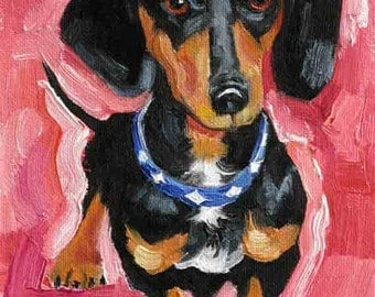 Black Dachshund Painting, Doxie Art Print, Weiner Dog, Hot Dog - Giclee Art Print -  7 x 5  Dog Art