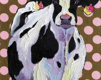 Cow Art Print, From Original Oil Cow Painting, Holstein Cow Art, Cow Art, 10 x 8 by Jemmas Gems