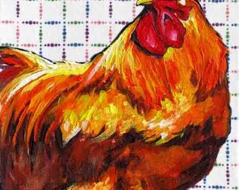Chicken Painting, Red Hen Print, Chicken Art, Chicken Print for Home & Kitchen, 7 x 5 by Jemmas Gems