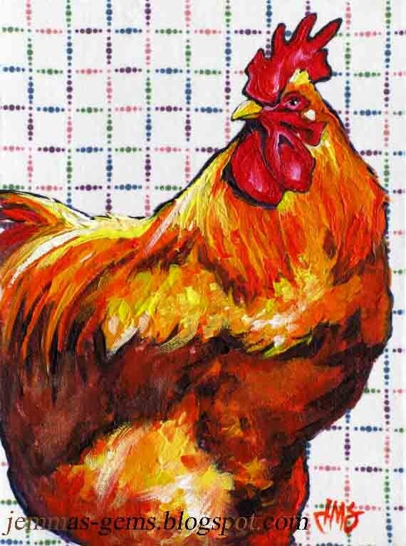 Chicken Painting- Red Hen Print, Chicken Art, Giclee Print for Home & Kitchen - 7 x 5 by Jemmas Gems