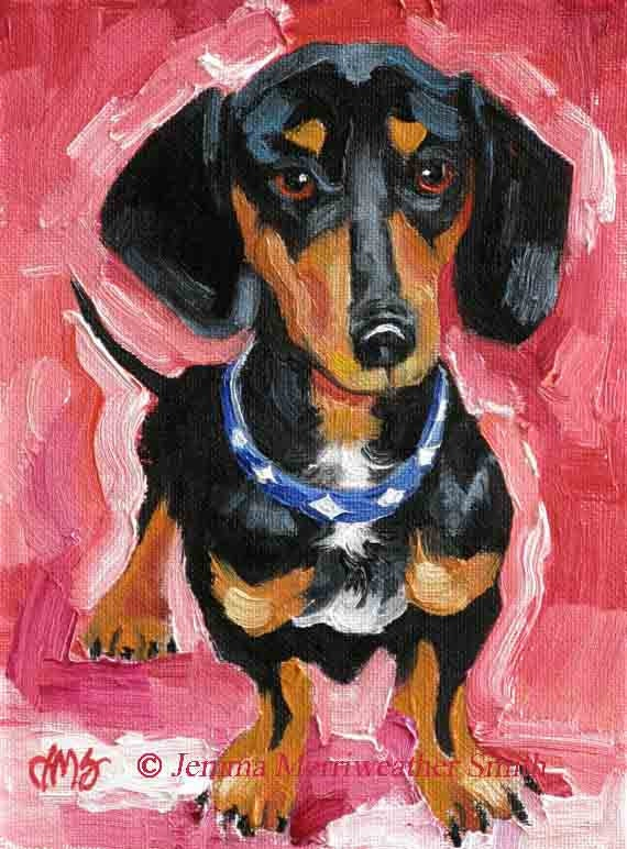 Black dachshund painting doxie art print weiner dog hot dog for Dog painting artist