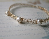 Pearl Bracelet 14K Gold Filled Wire Crochet and Freshwater Pearl