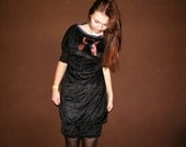 Boho Goth Black Velvet Dress Short Sleeve Metallic Collar Dress Womens Sexy Babydoll Cocktail Lbd Little Black Dress