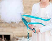Flower Girl Wand - Huge Tulle Poof with Blue and Silver Ribbon Streamers