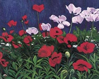 Poppies (Floral Landscape) -Museum Quality Limited Edition Print on Stretched Canvas with Archival Inks