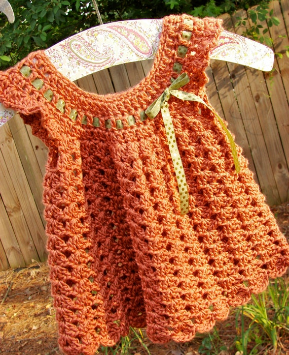 Crochet Baby Girl Pinafore 3 Months Cinnamon Spice with Green Bow
