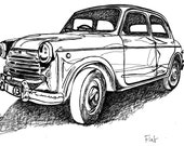 Classic Car Art Print / Vintage European Fiat / Limited Edition / Man's Gift Idea