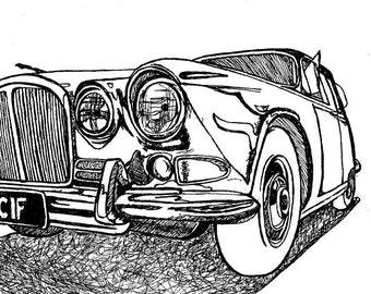 60's Jaguar / Classic Car Drawing / Limited Edition Art Print / 8x10