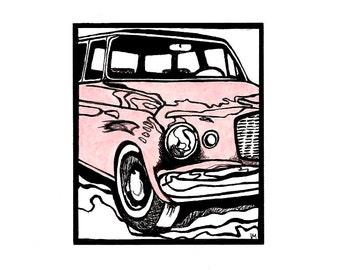 Pink Studebaker / Classic Car Drawing / Original Art 8x10