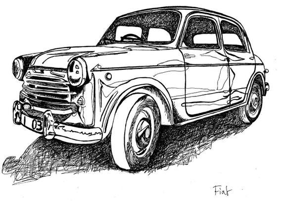 Classic Car Art Print / Vintage European Fiat / Limited Edition / Man's Gift Idea
