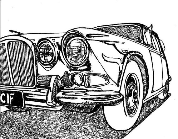 60 s Jaguar   Classic Car Drawing   Limited Edition Art Print   8x10Jaguar Car Drawing