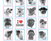 13007-I LOVE DOGS black and white- 0.75''X0.83''Inch Scrabble Size jpg Images - Digital Collage sheet 4''x6''